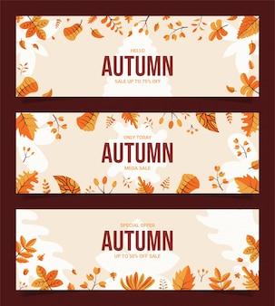 Jesienna sprzedaż rabatów banery płaska konstrukcja.