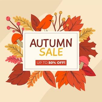 Jesienna sprzedaż rysowane ręcznie