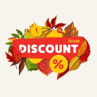 Jesienna sprzedaż sezonowa rabat transparent.