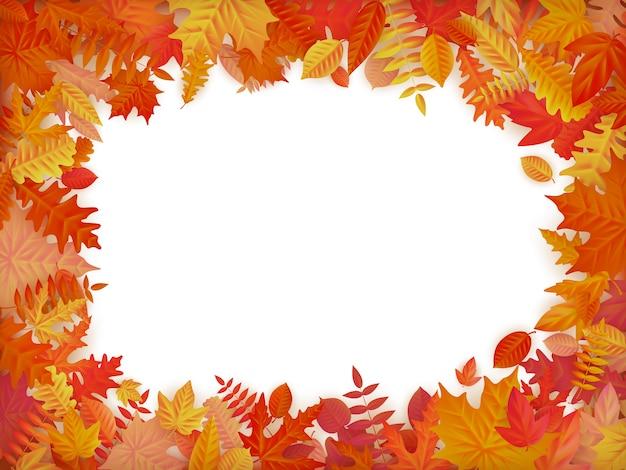 Jesienna sprzedaż tło układ w ramce z liści. zakupy sprzedaż lub plakat promocyjny i rama