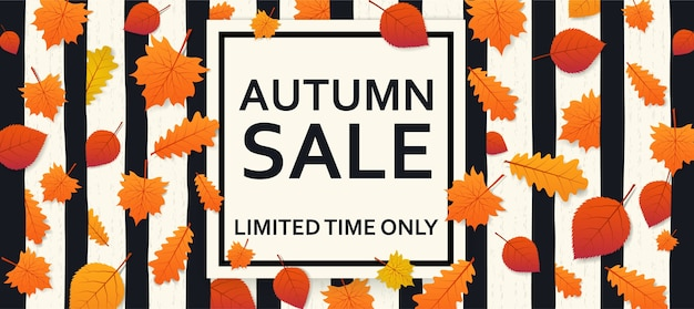 Jesienna sprzedaż tło z liści i transparent wewnątrz. plakat reklamowy, baner internetowy.