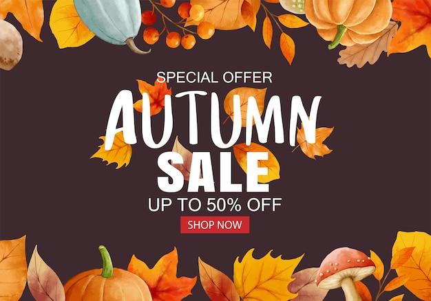 Jesienna sprzedaż transparent tło szablonu. jesienna wyprzedaż z liści ramki i tekstu.