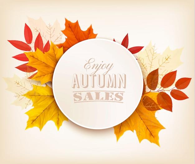 Jesienna sprzedaż transparent z kolorowych liści.