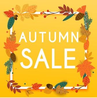 Jesienna sprzedaż transparent z listkami, plakat, ulotka. ilustracja.