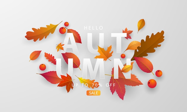 Jesienna sprzedaż transparent z opadającymi liśćmi