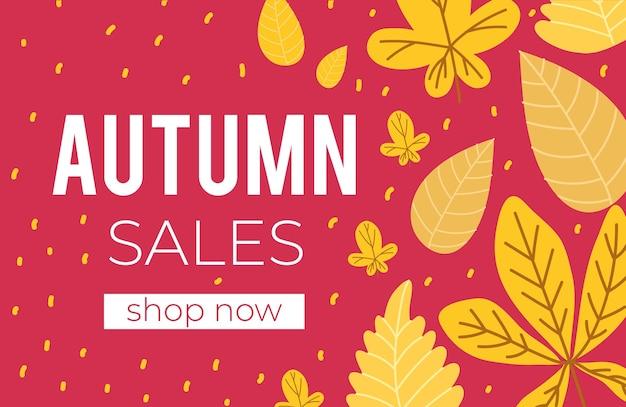 Jesienna sprzedaż transparent z tekstem i liśćmi
