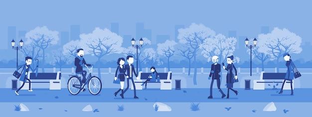 Jesienna strefa parkowa z ludźmi. duży ogród publiczny jesienią, teren z trawą, drzewami do zabawy, rekreacji, szczęśliwi mieszkańcy cieszą się zajęciami na świeżym powietrzu. ilustracja wektorowa, postacie bez twarzy