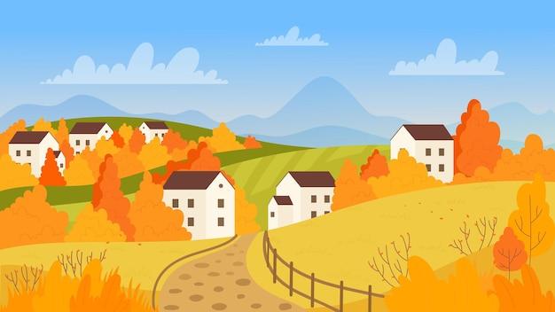 Jesienna wieś w słoneczny dzień droga do domów gospodarskich pola uprawne drzewa i budynki