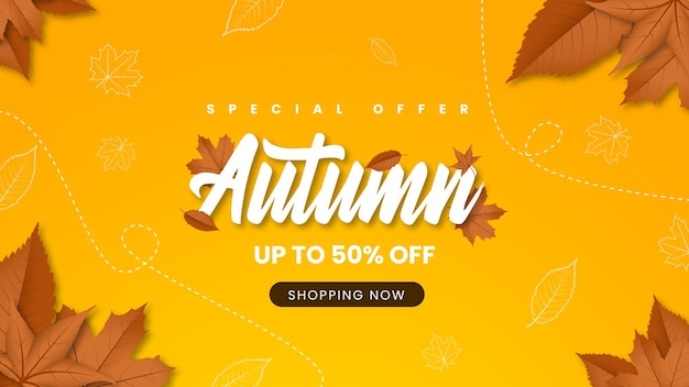 Jesienna wyprzedaż baner ze zwiędłymi liśćmi