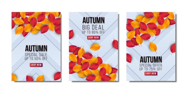 Jesienna wyprzedaż duży zestaw banerów. wektor premium