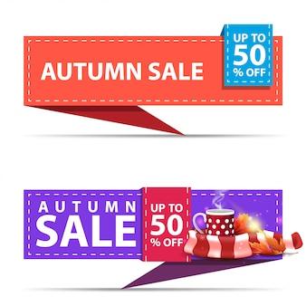 Jesienna wyprzedaż, dwa poziome bannery rabatowe w formie wstążki