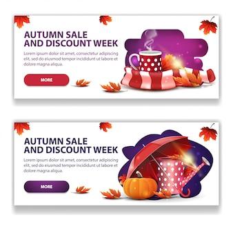 Jesienna wyprzedaż, dwa poziome stylowe, lekkie banery internetowe