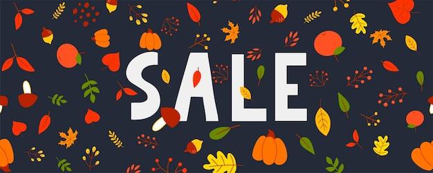 Jesienna wyprzedaż ilustracja, baner, wektor, jesień, napis, karta