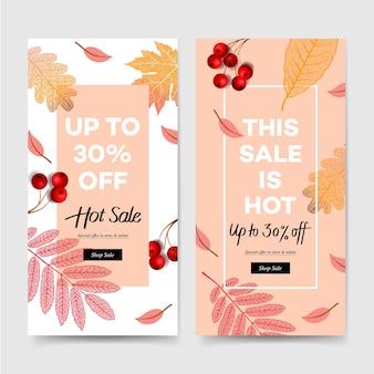 Jesienna wyprzedaż, jesienne banery, zbiór treści promocyjnych w mediach społecznościowych