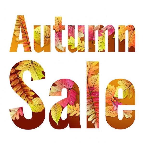 Jesienna wyprzedaż. napis z liści klonu.