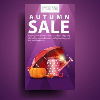 Jesienna wyprzedaż, nowoczesny, stylowy pionowy baner dla twojej firmy z konewką ogrodową