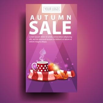 Jesienna wyprzedaż, nowoczesny, stylowy pionowy baner dla twojej firmy z kubkiem gorącej herbaty