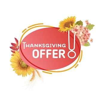 Jesienna wyprzedaż odznaka promocyjna, szablon transparent oferty święto dziękczynienia, rabat promocyjny na białym tle. płynna bańka z kwiatami słońca, jesienna oferta sezonowa, abstrakcyjna reklama, ilustracja wektorowa