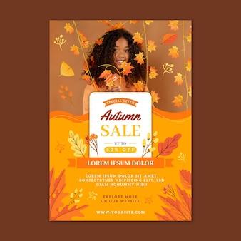 Jesienna wyprzedaż pionowy szablon plakatu ze zdjęciem