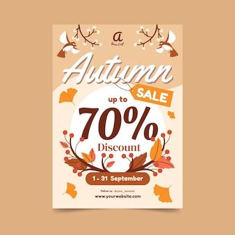 Jesienna wyprzedaż pionowy szablon plakatu
