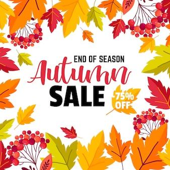 Jesienna wyprzedaż plakat tło z liśćmi i tekstem, ilustracji wektorowych