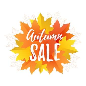 Jesienna wyprzedaż plakat z kolorowych liści w stylu płaski