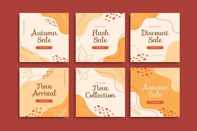 Jesienna wyprzedaż post szablon zestaw edytowalnych szablonów kreatywnych wyprzedaż na instagramie