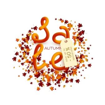Jesienna wyprzedaż projekt plakatu.