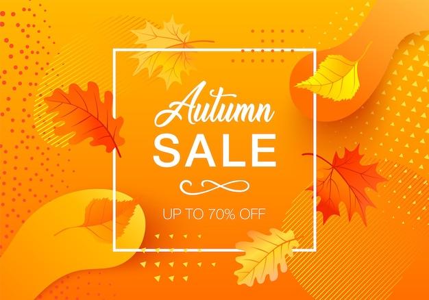 Jesienna wyprzedaż projekt z kolorowymi kształtami gradientu i liśćmi. modna ilustracja do szablonu na stronie internetowej lub ulotkach. futurystyczny plakat ze zniżkami
