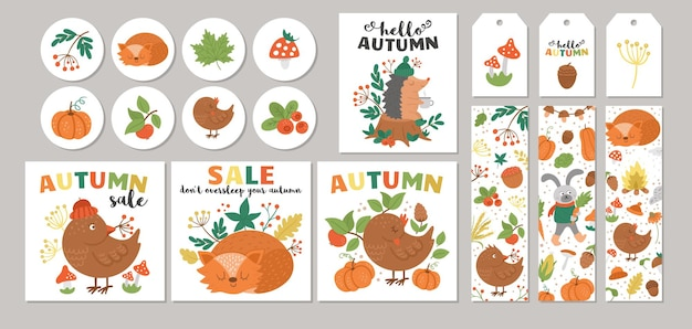 Jesienna wyprzedaż projektów kart z szablonami dyni z lisów ptaków