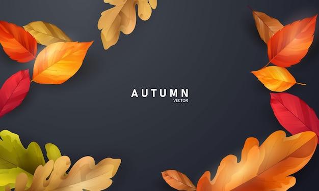 Jesienna wyprzedaż spadające liście tło natura