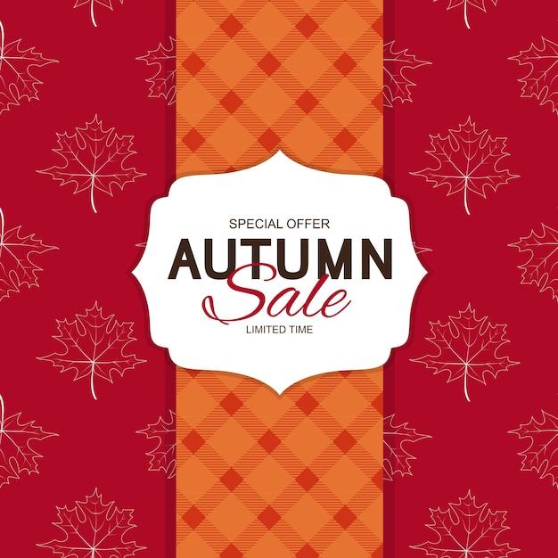 Jesienna wyprzedaż szablon tła z liśćmi oferta specjalnaograniczony czas
