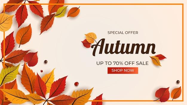 Jesienna wyprzedaż tło z pięknym liściem