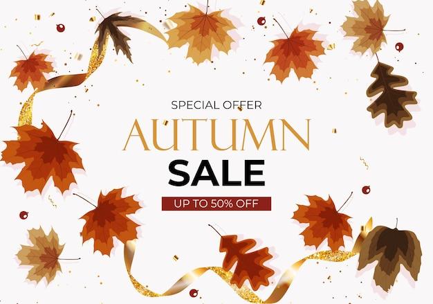 Jesienna wyprzedaż tło z spadającymi liśćmi. może być używany jako post z historią w sieci społecznościowej. ilustracja wektorowa eps10