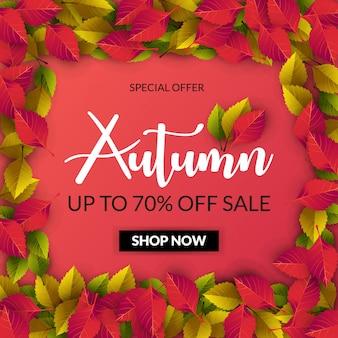 Jesienna wyprzedaż transparent na zakupy sprzedaż