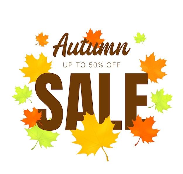 Jesienna wyprzedaż transparent z jesiennymi liśćmi wektor tle