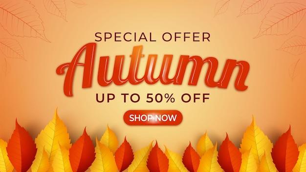 Jesienna wyprzedaż transparentu abstrakcyjne liście na pomarańczowym tle