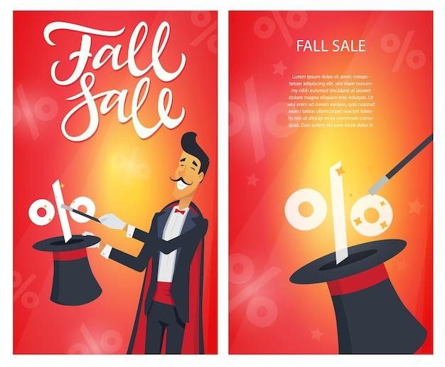 Jesienna wyprzedaż - zestaw nowoczesnych ilustracji wektorowych z tekstem kaligrafii i miejscem na informacje na czerwonym tle. wizerunek maga wykonującego hat-tricka. rabat, koncepcja zakupów