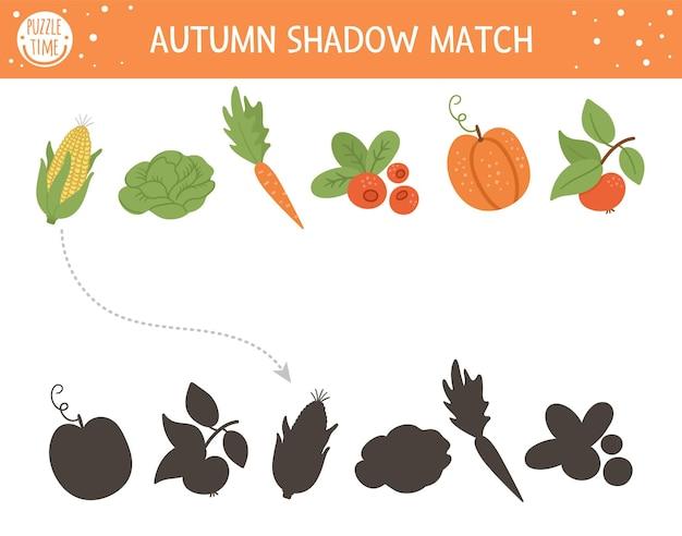 Jesienna zabawa w dopasowywanie cieni dla dzieci. jesienna układanka z uroczymi warzywami. prosta gra edukacyjna dla dzieci ze żniwami. znajdź odpowiedni arkusz do wydrukowania sylwetki.