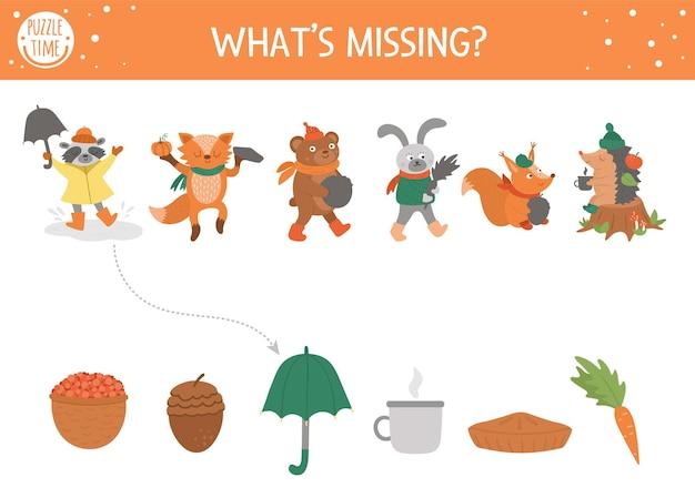 Jesienna zabawa w dopasowywanie cieni dla dzieci. jesienna układanka z uroczymi zwierzętami. prosta gra edukacyjna dla dzieci, czego brakuje. znajdź odpowiedni arkusz do wydrukowania sylwetki.