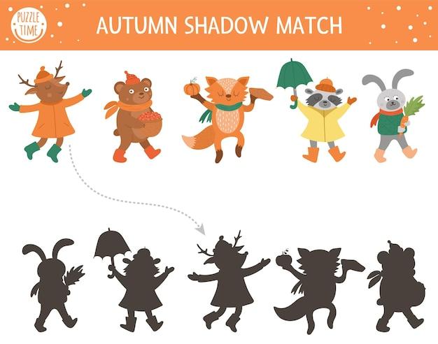 Jesienna zabawa w dopasowywanie cieni dla dzieci. jesienna układanka z uroczymi zwierzętami w czapkach, szalikach, butach. prosta gra edukacyjna dla dzieci. znajdź odpowiedni arkusz do wydrukowania sylwetki.