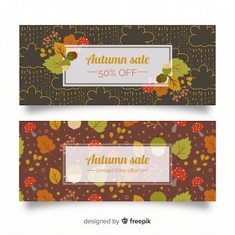 Jesienne banery sprzedaży z liści jesienią
