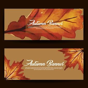 Jesienne banery z akwarelą pomarańczowe, żółte i zielone liście