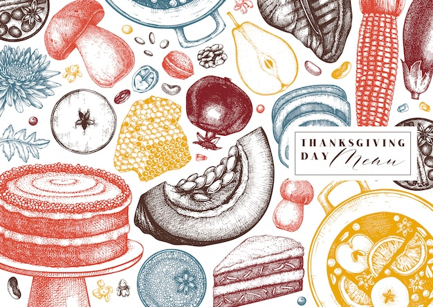 Jesienne dożynki wzór. tradycyjne tło jesieni z ręcznie rysowane rośliny, jedzenie, napoje, owoce, warzywa, ilustracja do pieczenia.