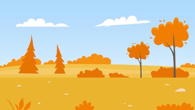 Jesienne drzewa w sezonie jesiennym natura pole krajobraz pomarańczowe liście roślin w parku