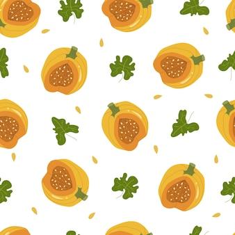 Jesienne dynie pomarańczowe z zielonych liści wzór. wektor ręcznie rysowane ilustracja kreskówka.