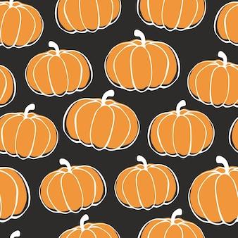 Jesienne dynie wzór. halloween, święto dziękczynienia wektor doodle dyni.