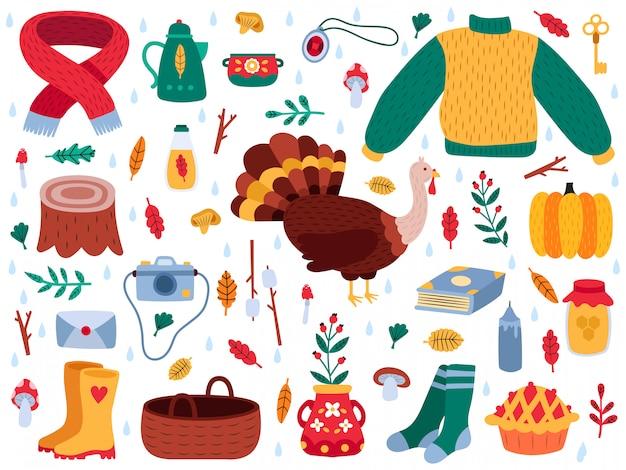 Jesienne elementy. jesień kreskówka przytulny sweter hygge, buty, jesienne liście, grzyby, zestaw ilustracji dyni i indyka. kolekcja jesień liść natura, aparat i elementy