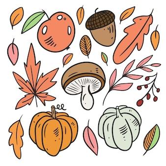 Jesienne elementy zestaw liście dyni jabłko linia sztuki kolorowy styl ręcznie rysowane szkic doodle