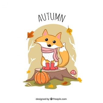 Jesienne ilustracji ręcznie rysowane piękny foxy z szalikiem